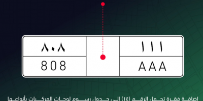 Muroor shows the shape of the distinctive logo plate approved by the Cabinet - SAR 800