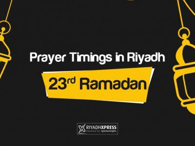 Prayer Timings 23rd Ramadan